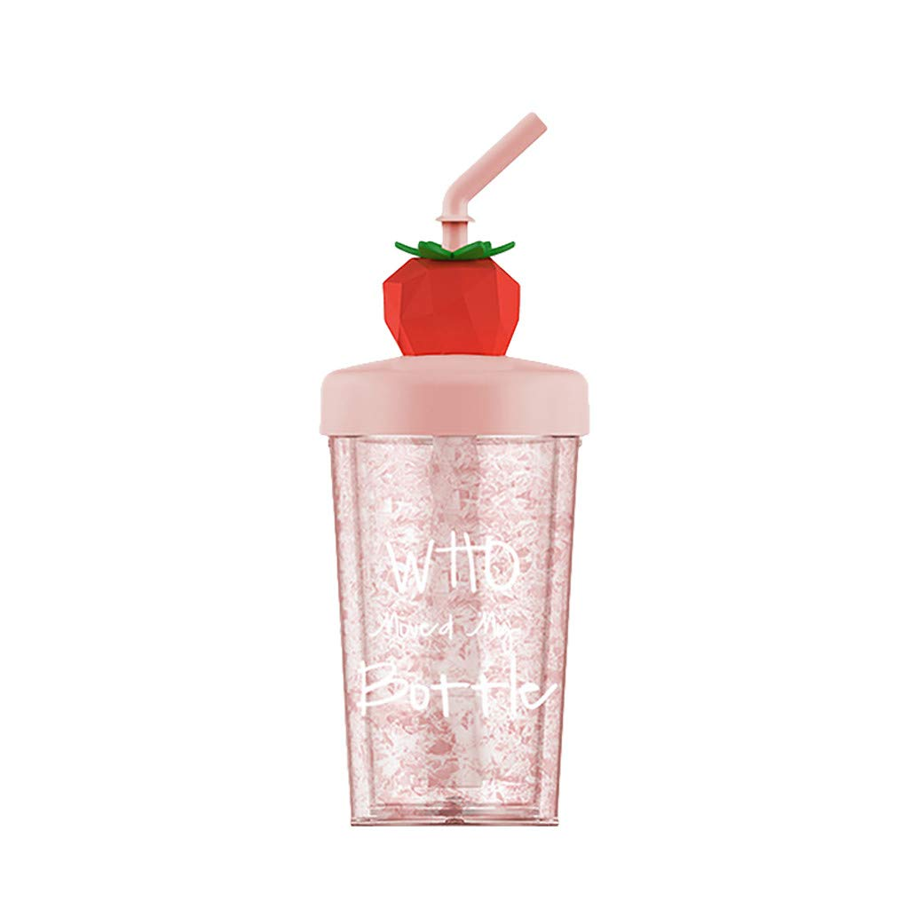 Straw Water Cup, Summer Fruit Ice Cup, Straw Plastic Gift Cup, Girl Child Juice Mixing Cup 270ml (C)