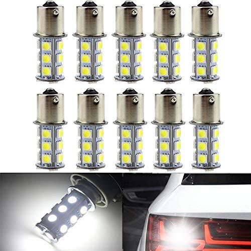 - Yolu 10pcs 1156 18SMD Pure White Super Bright LED Light Blubs Reversing Lights Rear Turn Signal lights Interior Brake Light Lamp Backup Lamps 1003 1141 7506