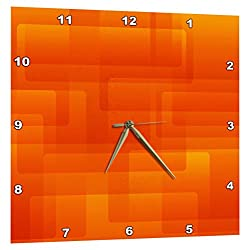 3dRose Bright Orange on Orange Rounded Rectangles Abstract - Wall Clock, 10 by 10-Inch (DPP_213735_1)