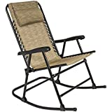 Best Choice Products Folding Rocking Chair Foldable Rocker Outdoor Patio Furniture Beige