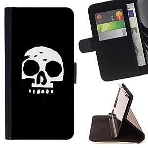 BullDog Case - FOR/Sony Xperia M2 / - / Simple Skull /- Monedero de cuero de la PU Llevar cubierta de la caja con el ID Credit Card Slots Flip funda de cuer