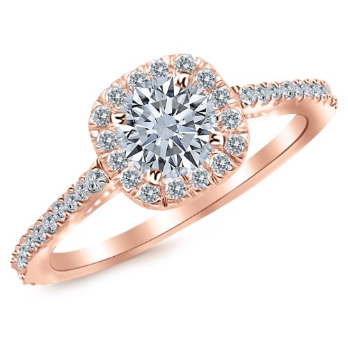1.01 Carat Gorgeous Classic Cushion Halo Style Diamond Engagement Ring 14K Rose Gold a 0.63 Carat H-I I2 Round Brilliant Cut/Shape Center