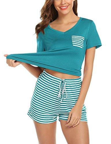 hellow friends Women 2 Piece Pajamas Sets Short Sleeve V Neck Tops Short Bottom Cotton Nighty PJ Sets (XXL, Green)