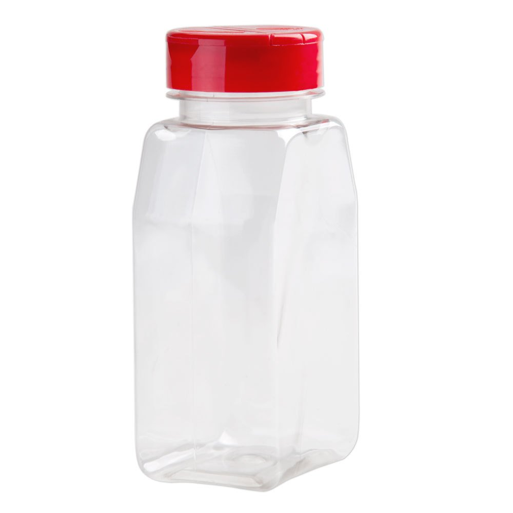 Spice Containers 6 sets - 16 oz. clear plastic pet spice jars storage container bottles with red sifter spoon caps - 6 bottles with caps - plus white spice lablels