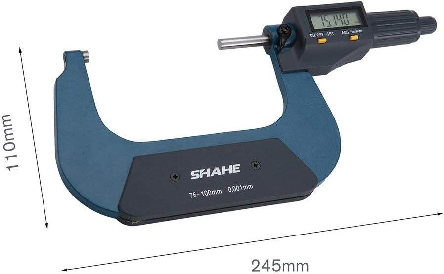 Manalada/® Shahe 0.001mm 25-50mm 50-75mm 75-100 mm elektronische Digital B/ügelmessschrauben