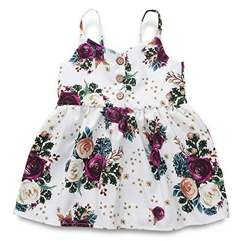 YOUNGER TREE Toddler Baby Girls Summer Skirt Floral Print Sleeveless Sling Dress Sundress Beach Dress White