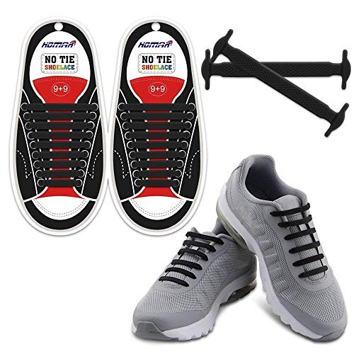 HOMAR No Tie Shoelaces for Kids and Adults - Best in Sports Fan Shoelaces - Waterproof Silicone Flat Elastic Athletic Running Shoe Laces with Multicolor for Sneaker Boots Board Shoes and Casual Shoes ()