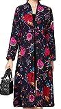 Alion Women's Fashion Ethnic Style Printing Flower Long Jacket Navy Blue L