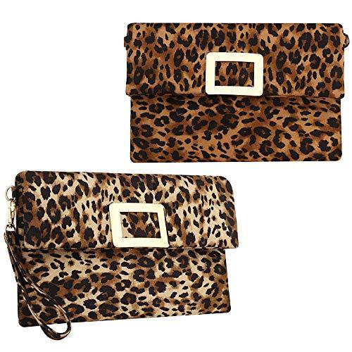 jessie Clutch Purses for Women PU Leather Leopard Clutch Bag Shoulder Bags Small Crossbody Bags Wristlet
