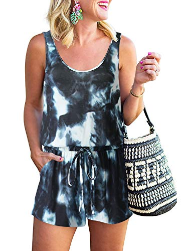 LOGENE Women's Summer Casual Tank Romper Scoop Neck Sleeveless Jumpsuit with Pockets