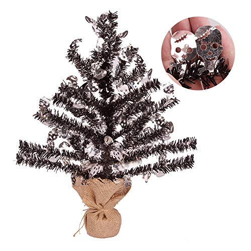 Joy-Leo 1 Foot Pop-up Black Skull Tinsel Tree for Halloween Decoration with Burlap Stand, Tabletop Halloween Christmas Tree with Skull Cut Out Sequins
