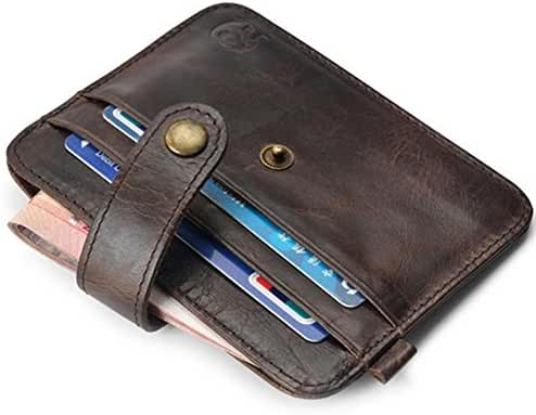 Mens Vintage Genuine Leather Slim Wallet Credit Card Holder Sleeve Case Pouch
