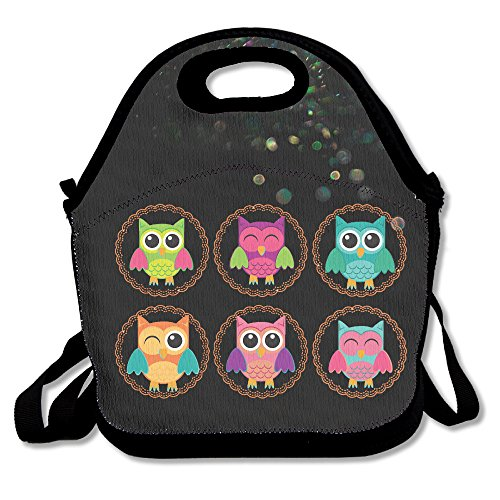 Kik Costume Party (BakeOnion Owls Lunch Tote Bag Lunch Box Neoprene Tote For Kids And Adults For Travel And Picnic School)