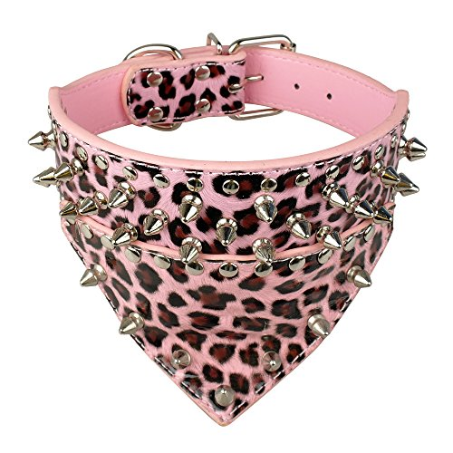 Dog Fashion Bandana - Avenpets Fashion Bandana Style Scarf Leather Dog Collar Decorated with Spikes and Studs for Training and Walking,Leopard,S:(neck 17-20