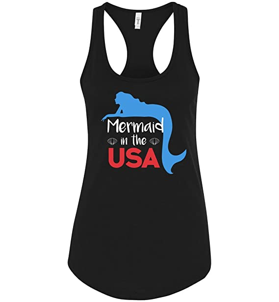 25584346fa6fa2 Amazon.com  Mermaid in The USA 4th of July Funny Racerback Tank Top for  Women  Clothing