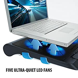 ENHANCE Gaming Laptop Cooling Pad Stand with LED Cooler Fans , Adjustable Height , & Dual USB Port for 17 inch Laptops - 5 Ultra Quiet High Performance Fans 2630 RPM & Built-In Bumpers - Blue