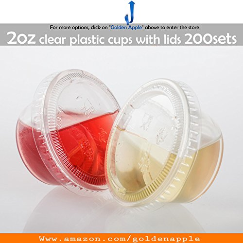 GOLDEN APPLE, 2-Ounce Clear Plastic Jello Shot Souffle Cups with Lids, Sampling Cup (200 -