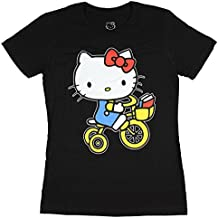 Mighty Fine Sanrio Hello Kitty Riding Bicycle Juniors Black T-Shirt