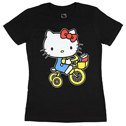 Sanrio Hello Kitty Riding Bicycle Juniors Black T-Shirt (Womens Hello Kitty Clothes)