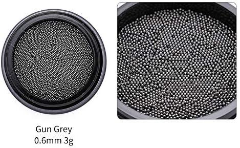 XSHD 1BOXシャープネイルラインストーンミニビーズシャープボトム混載ネイルアクセサリー3DネイルアートデコレーションDIY設計ツール (Color : Gun Grey 0.6mm)
