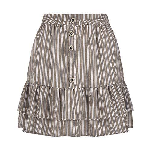lkoezi Women Summer Short Skirt, Lady Fashion Sports Casual Skirt Buttons Buckle Ruffle Mini Skirt Plus Size ()