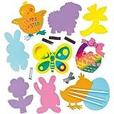 Imanes de Pascua de Colores para Rascar Manualidades Creativas Scratch Art para Niños Perfectas Para Crear Decoraciones Personalizadas y como Actividades de Fiestas Infantiles (Pack de 10)
