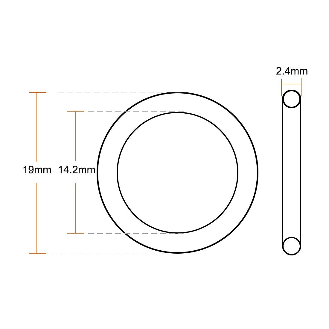 O-Ring Fluorine Rubber 19 mm OD 14.2 mm ID 2.4 mm Width FKM Seal Brown Seal 20 Pieces
