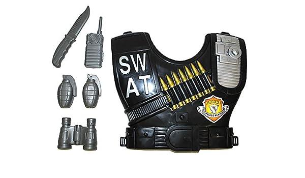 erdbeerclown – SWAT Disfraz chaleco con accesorio Juego de Arma de ...