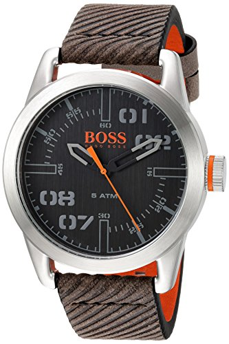 HUGO BOSS Men's 'OSLO' Quartz Stainless Steel and Leather Casual Watch, Color:Grey (Model: 1513417)