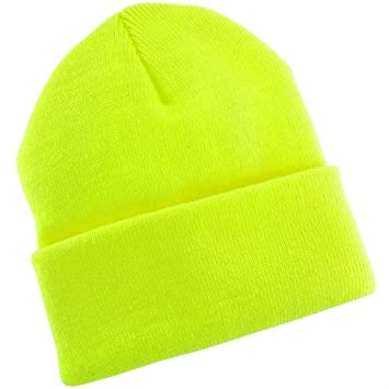 f152c57be00 Amazon.com  Hi-Viz Neon Safety High Visibility Yellow Knit Beanie ...