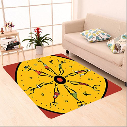 10' Circular Chart (Nalahome Custom carpet Decor Circular Geometric Chart with African Dancers Inside Hippie Boho Pattern Ruby Earth Yellow area rugs for Living Dining Room Bedroom Hallway Office Carpet (2' X 8'))