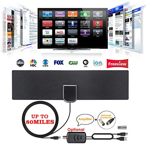 LAYOPO - Antena Universal de TV [2018 Upgraded] 4K HDTV Digital amplificada Antena Interior de 50 a 80 Millas Todos los Tipos...