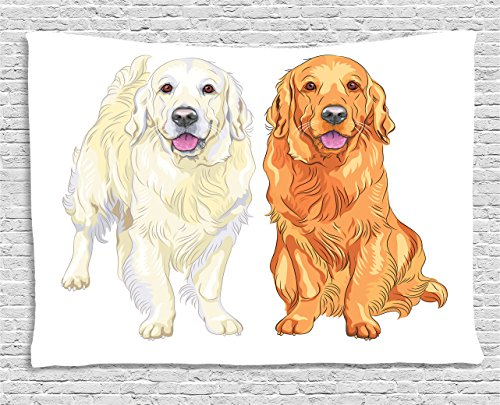 (Ambesonne Golden Retriever Tapestry, Smiling Pale and Red Dog Pure Breed Sitting Staying Thoroughbred, Wall Hanging for Bedroom Living Room Dorm, 80 W X 60 L Inches, Orange Ivory Pink)