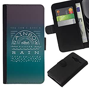 Planetar® Modelo colorido cuero carpeta tirón caso cubierta piel Holster Funda protección Para Samsung Galaxy Core Prime ( Rainbow Rain Actitud Positiva Cita Vida )