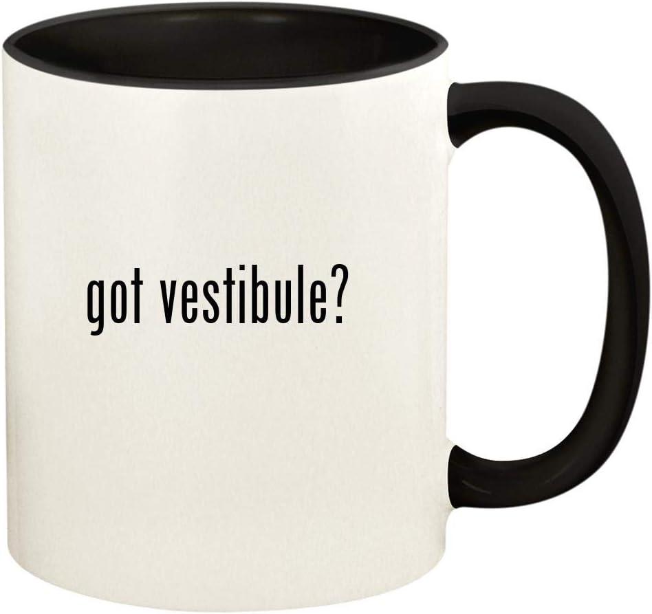 got vestibule? - 11oz Ceramic Colored Handle and Inside Coffee Mug Cup, Black