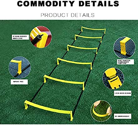 WEGSD Escalera de cuerda de entrenamiento para fitness, agilidad, escalera, escalera, 6 peldaños, combinación de velocidad, equipo de entrenamiento para niños, adolescentes, fútbol, entrenamiento: Amazon.es: Deportes y aire libre