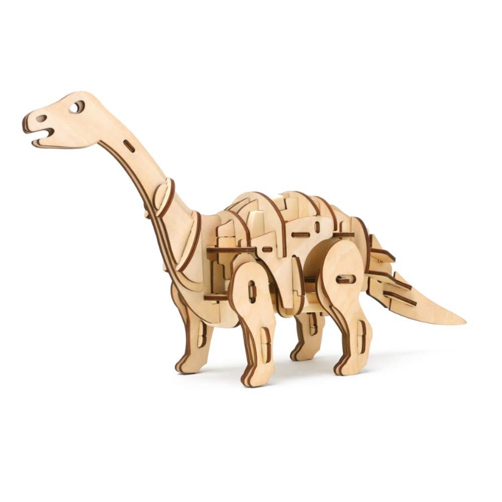 YC DOLL 3 D Madera Simulación Animal Dinosaurio Asamblea Rompecabezas Modelo Brontosaurio Juguete, Control De Sonido Robot Dinosaurio Mejores Regalos De Cumpleaños para Niños Y Adultos