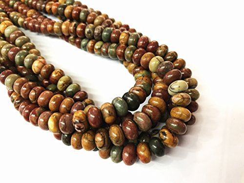 Pendant Necklace Beads Jasper (TheTasteJewelry 8mm Rondelle Picasso Jasper Beads 15 inches 38cm Jewelry Making Necklace Healing)