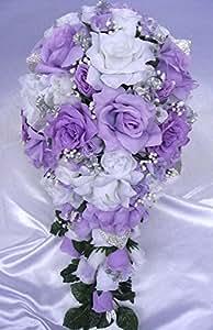 wedding bouquet bridal silk flowers lavender silver white cascade 21 pcs bouquets. Black Bedroom Furniture Sets. Home Design Ideas