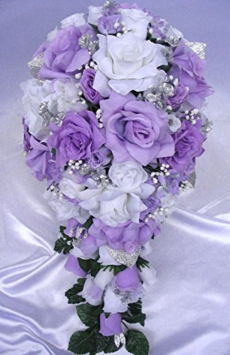 Amazon Com Wedding Bouquet Bridal Silk Flowers Lavender Silver