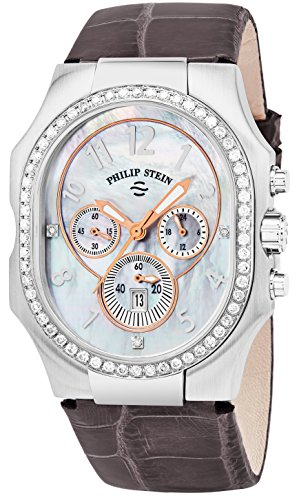 Philip Stein Women 'Signature' Mother of Pearl Face Dimaond Grey Leather Strap Chronograph Swiss Quartz Watch 23DD-FMOP-APRS