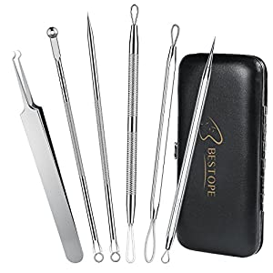 BESTOPE Blackhead Remover Curved Blackhead Tweezers Tool, 6-in-1 Professional Stainless Zit Pimple Comedone Extractor Popper Kit Set with Mirror Leather Case