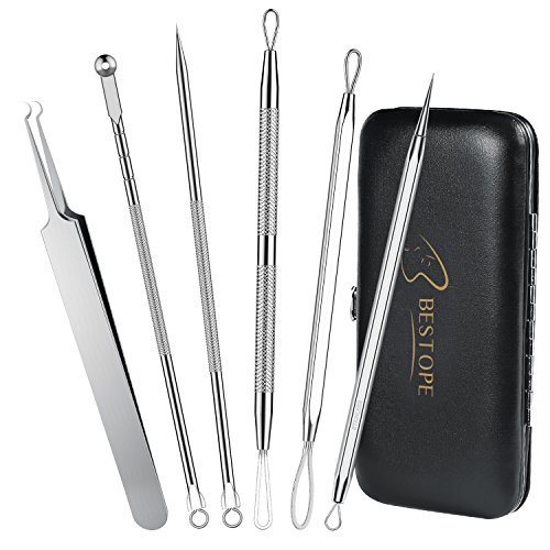 Price comparison product image BESTOPE Blackhead Remover Curved Blackhead Tweezers Tool, 6-in-1 Professional Stainless Zit Pimple Comedone Extractor Popper Kit Set with Mirror Leather Case