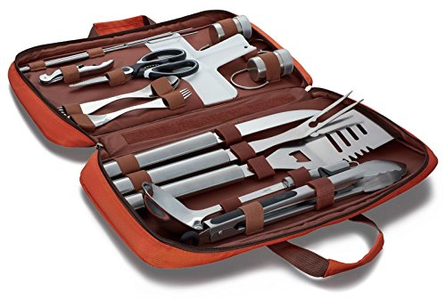 BOMKI Complete Grilling & Cooking Set For The Outdoors (Orange) Camping Grilling