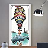 Gzhihine custom made 3d door stickers Trippy Art Decor Hammerhead Whale Fish with Hot Air Baloon Marine Sea Coast Shore Theme Grey Blue For Room Decor 30x79