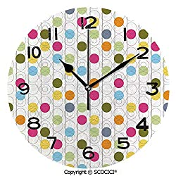 SCOCICI Round Wall Clock Retro Revival Pattern with Circles and Colorful Dots Abstract Style Antique Design 10 inch Morden Wall Clocks Silent Round Decorative Clock