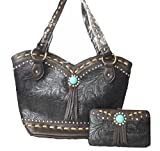 YK Boot Cut Turquoise Concho Western Purse Wallet Set Black