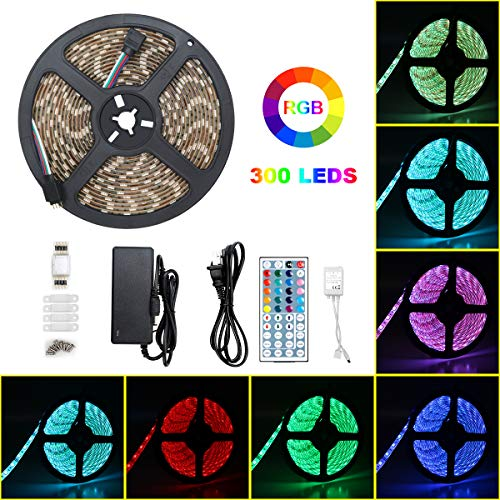 Alkaidstar Led Waterproof 5050 SMD RGB 5m 300leds Color Changing 44Keys IR Remote Outdoor Decoration Lighting Strips 12V Power Supply for Home Kitchen Indoor Dec, Multicolor