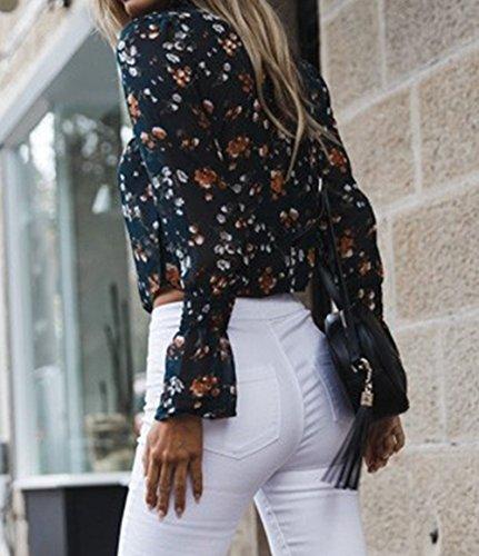 Courtes Casual Femme Automne Longues Fonc Tops Haut avec Tee Bandage Onlyoustyle Chemisiers Printemps T Manches Bleu Blouse Shirts Shirts et Fashion qAxtnvPw4