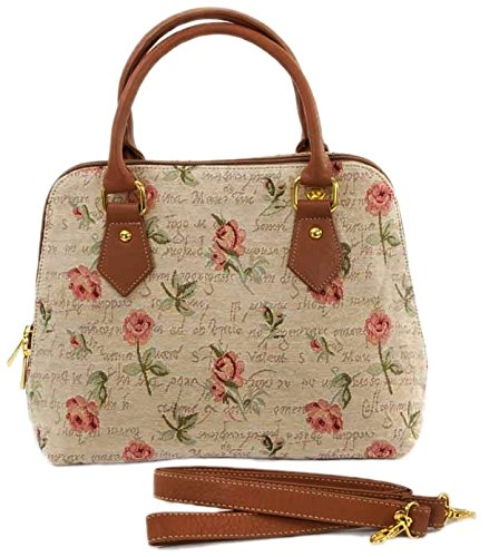 15a86bff0ecad Mittelgroße Handtasche Schultertasche für Damen (Rote Rose)   im Gobelin  Stil